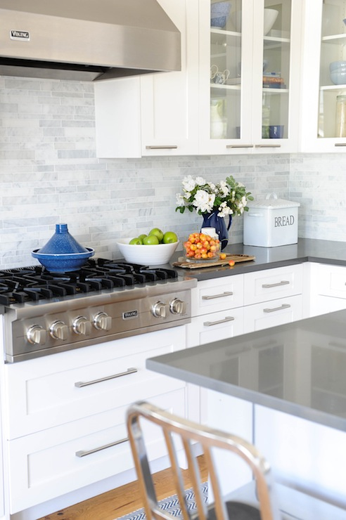 Grey Kitchen Cabinets With White Countertops: Linear Marble Backsplash