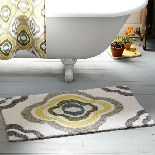 Gray And Yellow Floral Ikat Bath Mat