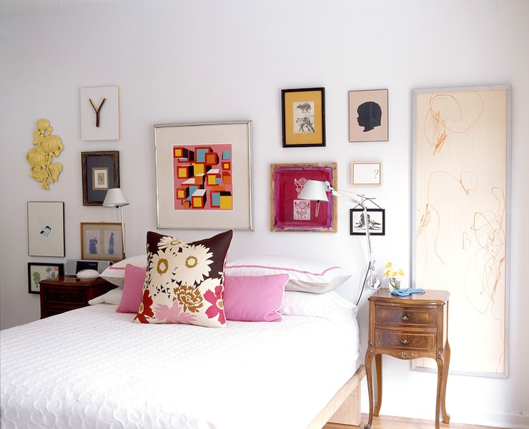 Art gallery over bed eclectic bedroom pencil and paper - Over the bed art ...