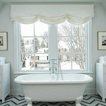 White Herringbone Bathroom Tiles Design Ideas