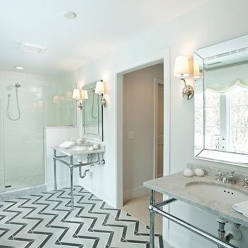Herringbone Floor, Contemporary, bathroom, Studio M Interiors