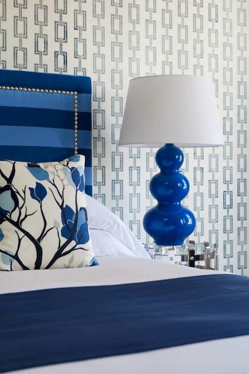 cobalt blue headboard - contemporary - bedroom