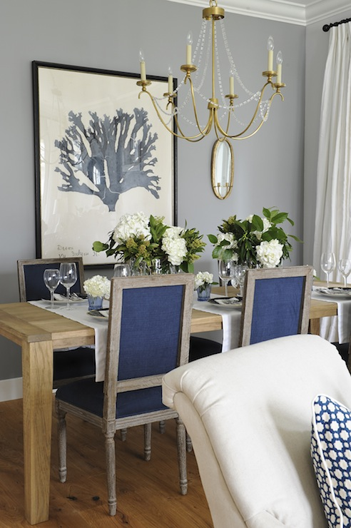 Navy blue dining chairs transitional dining room for Dining room grey walls