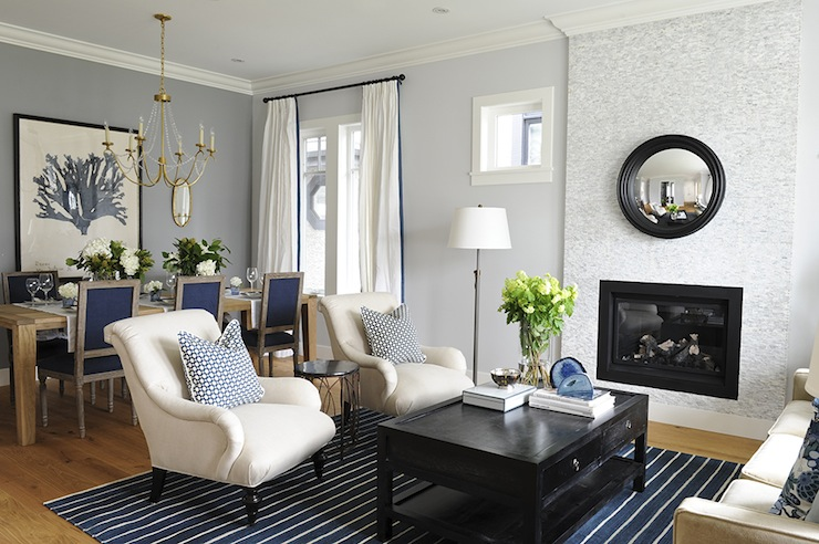 Ivory And Blue Living Room