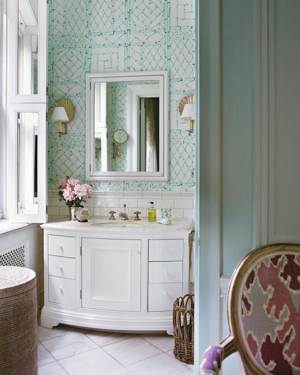 Wallpaper backsplash design decor photos pictures for Blue bathroom wallpaper