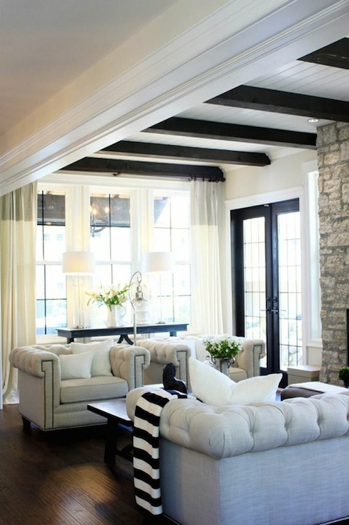 Black And White Striped Throw Transitional Living Room