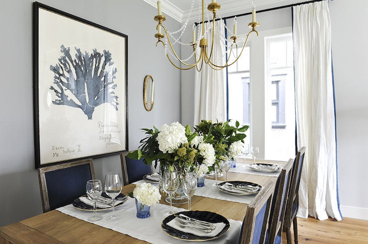 Navy blue dining chairs transitional dining room for Light blue dining room ideas