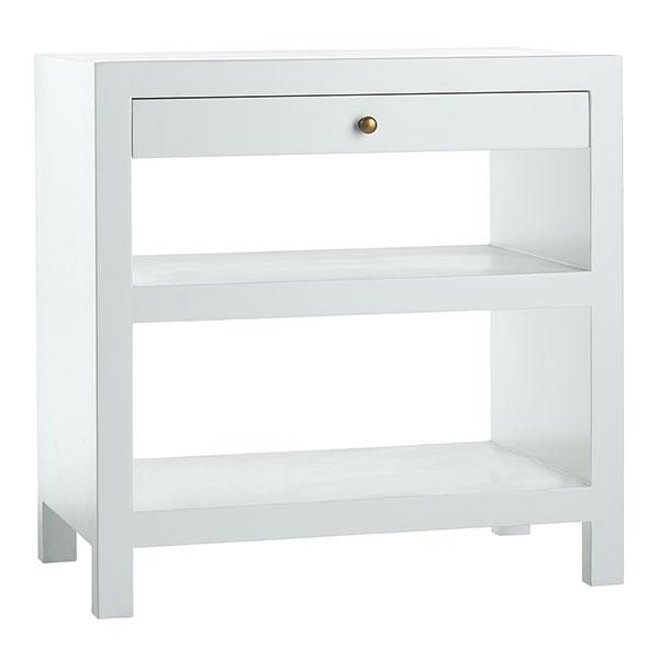 White Matte Lacquer Single Drawer Side Table