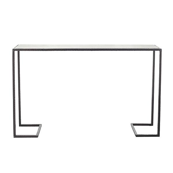 Structural Iron Marble Top Rectangle Console