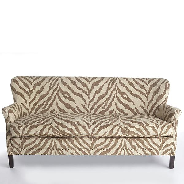 Brown And Ivory Zebra Print Sofa