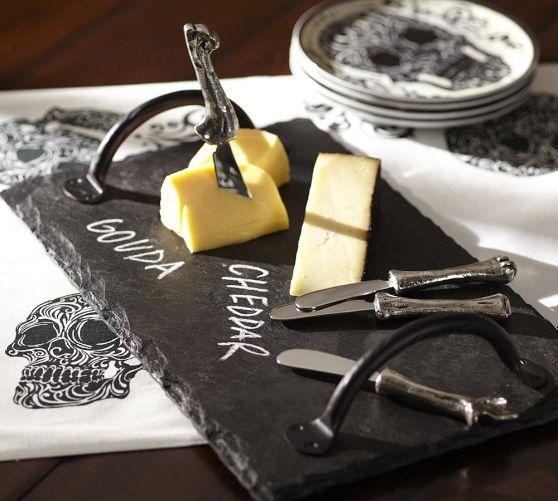 Metal Handles Dark Gray Slate Writeable Cheese Board