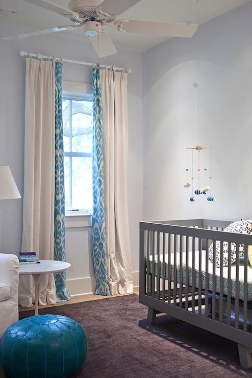 Turquoise ikat curtains contemporary nursery heather - Chambre bebe gris et bleu ...