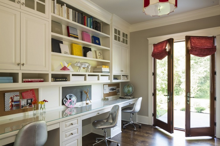 triple seated home office area. Fabulous Home Office With Triple Workstations For Kids Homework! The Features Built-in Bookcases And Cabinetry Over Glass Topped Desks. Seated Area