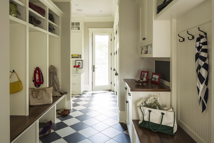 Mudroom cabinets transitional laundry room benjamin for Breezeway flooring ideas