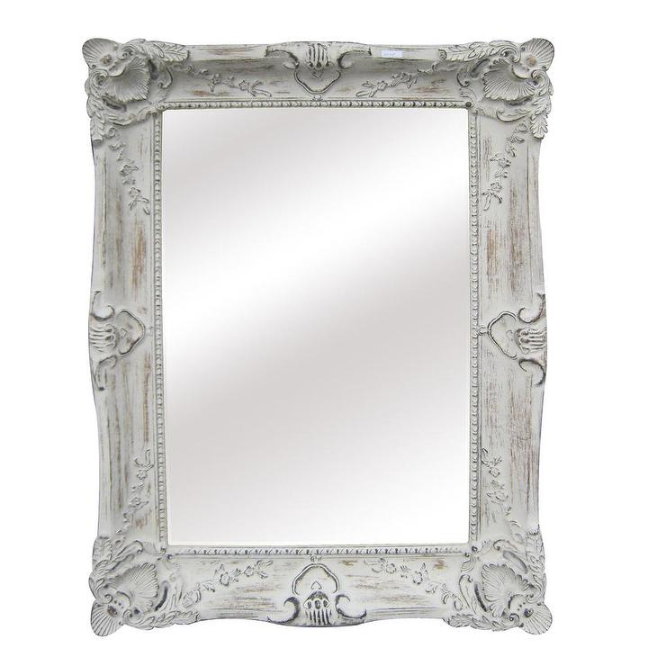 Antique white traditional rectangular 30 inch wall mirror for Traditional mirror