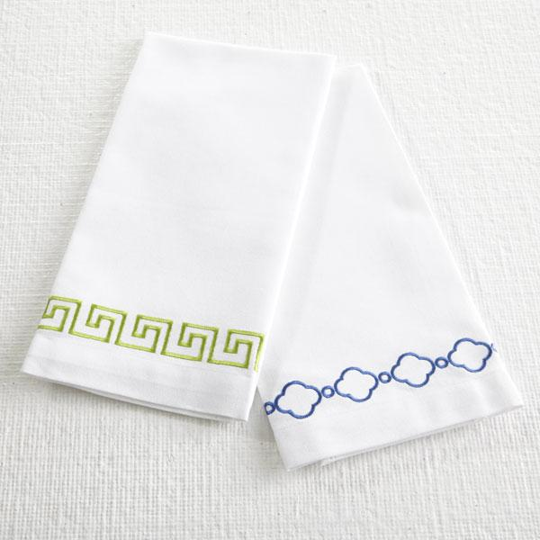 Attractive Green Greek Key Border Cotton Hand Towels GW02