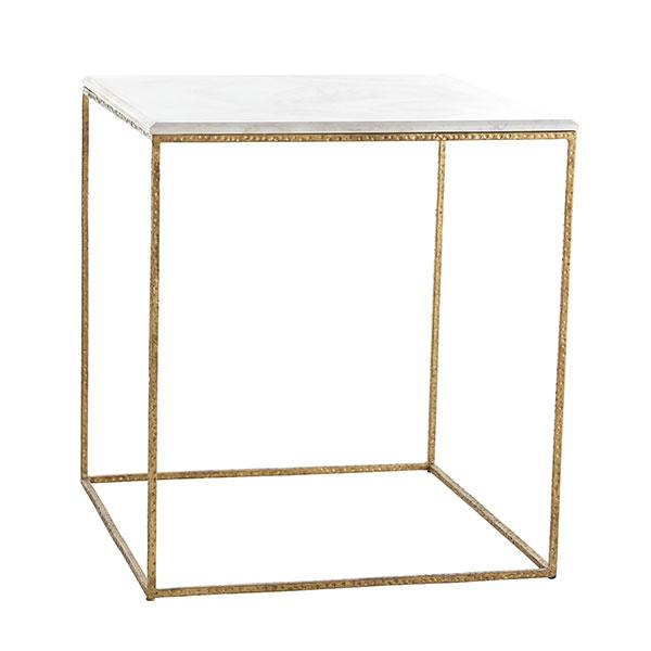 Good Marble Top Gold Leaf Frame Cube Side Table
