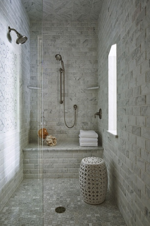 Beveled Marble Subway Tiles Transitional Bathroom