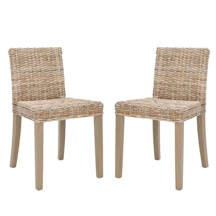 Set Of 2 Wicker Grey Armless Side Chairs