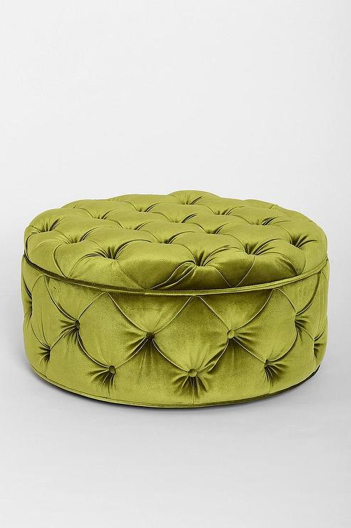Green Button Tufted Large Round Velvet Storage Ottoman - Charcoal Grey Velvet Tufted Top Nailhead Trim Round Storage Ottoman