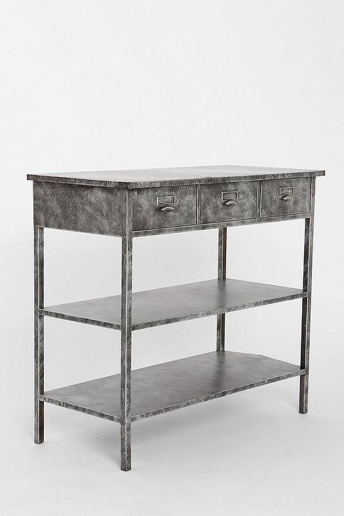 distressed metal furniture. gray industrial distressed metal media console furniture