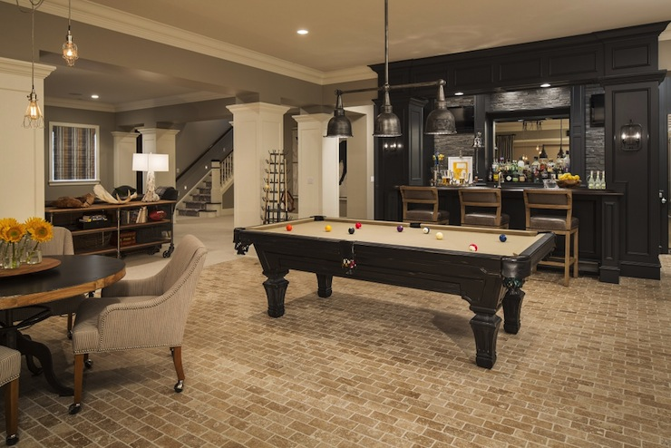 Family room in basement transitional basement for Pool room design uk