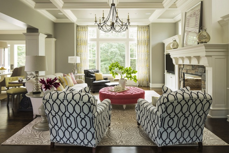 Pink Tufted Ottoman Transitional Living Room