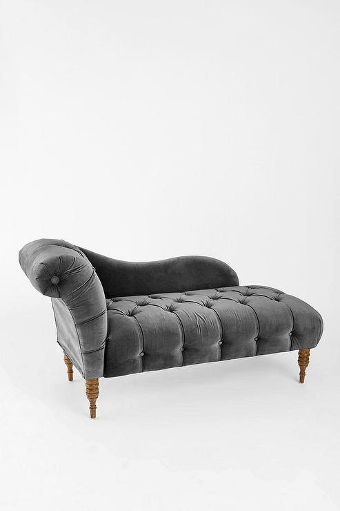 Gray Velvet Button Tufted Chaise : button tufted chaise - Sectionals, Sofas & Couches
