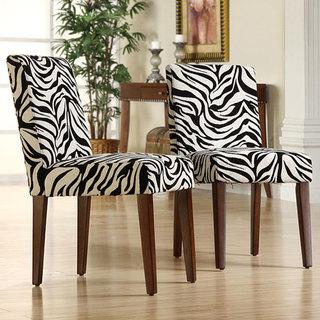 Set Of 2 Black And White Zebra Print Dining Chairs