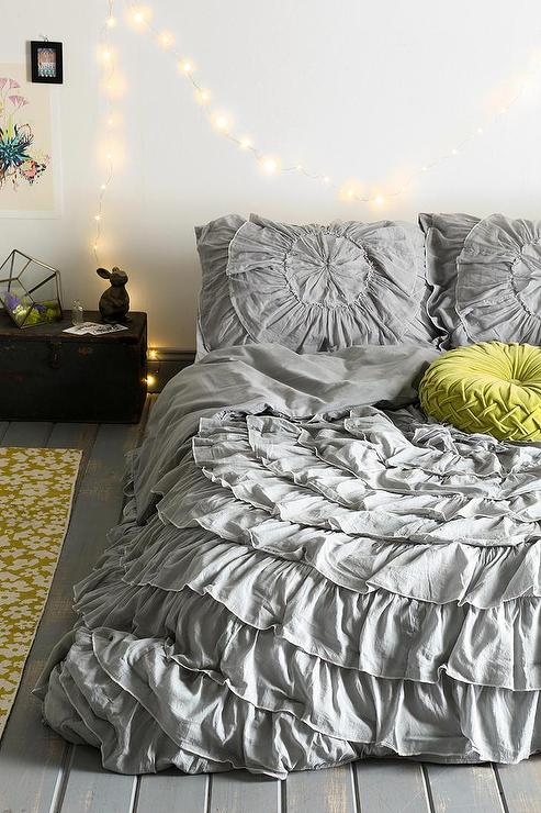 Gray Ruffle Medallion Reversible Duvet Cover
