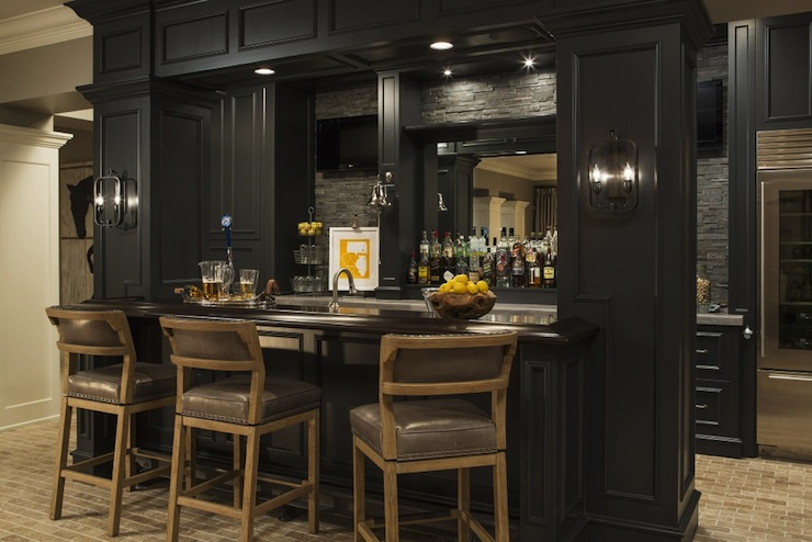 basement wet bar wall. Fantastic basement bar with brick floors and taupe wall color  Basement Bar Sink Design Ideas