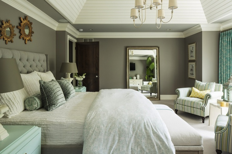 Gray and blue bedroom transitional bedroom benjamin for How to paint a vaulted ceiling room