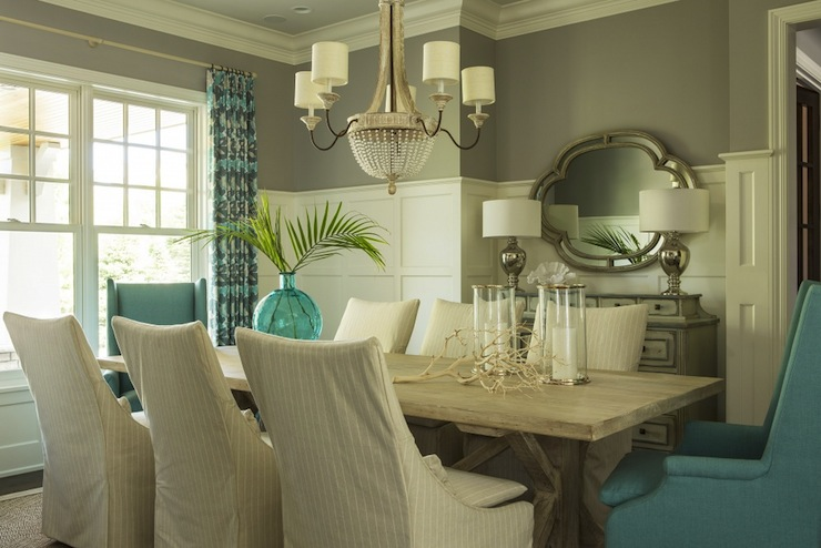 Blue And Gray Dining Room With Gray Grasscloth And Board And - Board and batten dining room