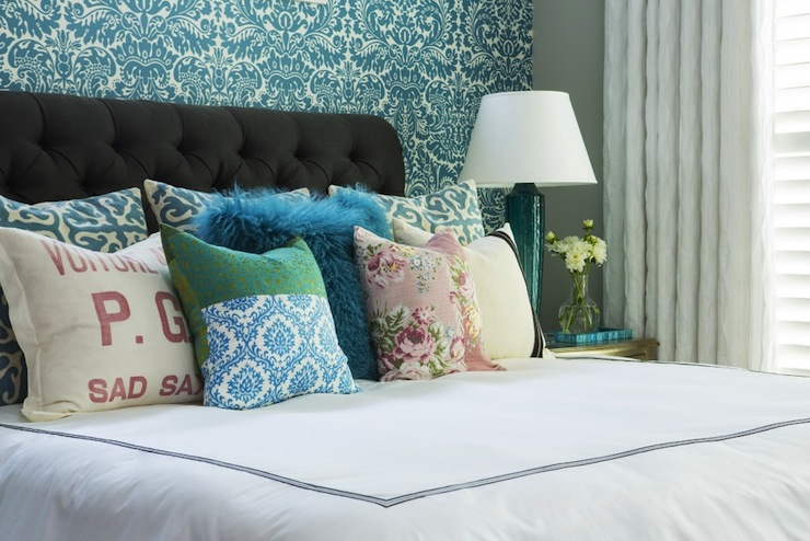 Turquoise damask wallpaper contemporary bedroom for Turquoise wallpaper for bedroom