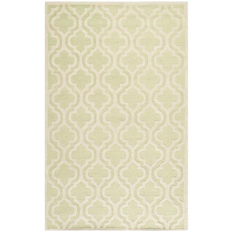 Attractive Moroccan Print Ivory Green Wool Rug