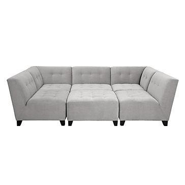 Gray Tufted Modular Sectional Sofa
