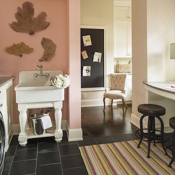 Pink Laundry Room, Transitional, laundry room, Benjamin Moore Blushing Brilliance, Martha O'Hara Interiors
