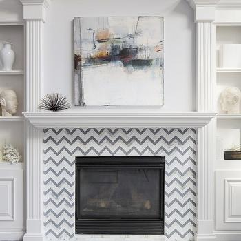 Chevron Fireplace Surround, Transitional, living room, Benjamin Moore Grey Tint, Martha O'Hara Interiors