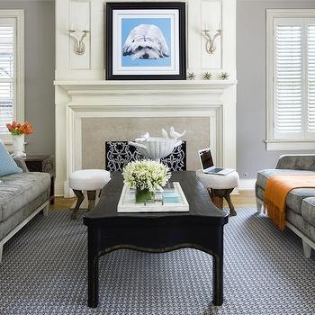 Gray Velvet Sofas, Transitional, living room, Benjamin Moore Stonington Gray, Martha O'Hara Interiors