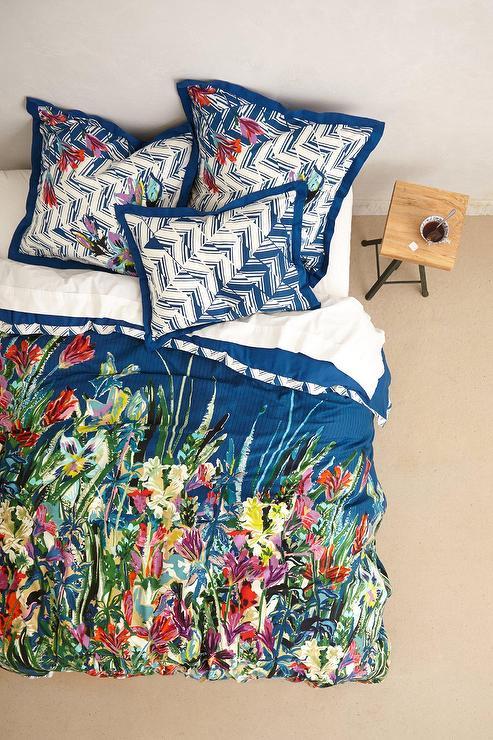 Multicolored Flowers Blue Duvet