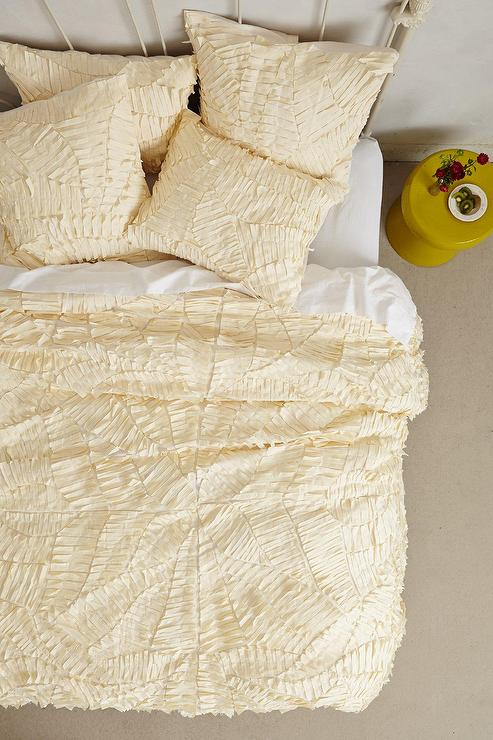 Cream Sliced Pattern Textured Duvet Cover