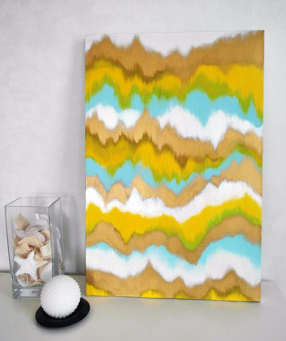 FREE SHIPPING Original Yellow Light Turquoise Gold by theArtForYou