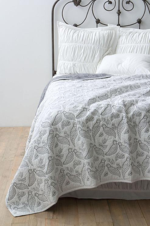 Embroidered Bird Motif White Reversible Coverlet
