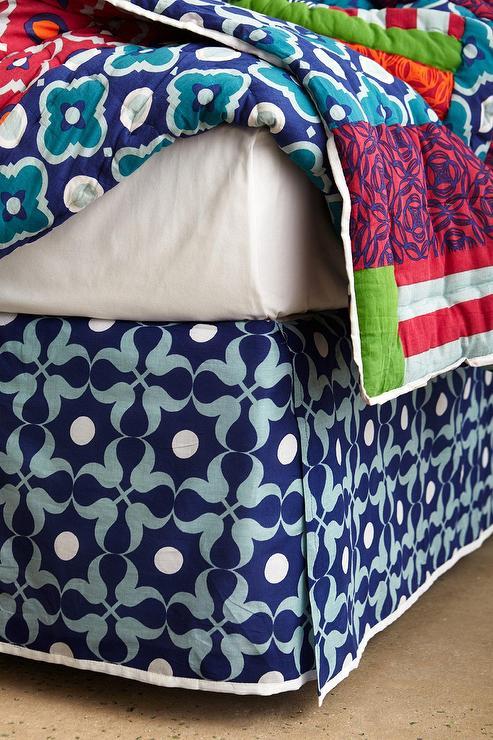 White And Navy Geometric Print Bedskirt