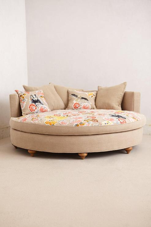 Ivory Pixelated Flora Circle Sofa