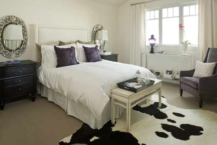 White and Purple Contemporary Bedroom -Kelly Deck Design