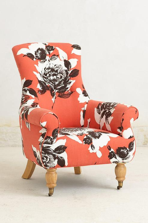 Good Coral Astrid Floral Print Arm Chair