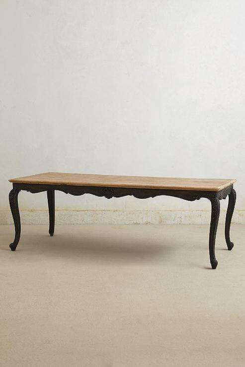 Black Cabriole Legs Wood Top Dining Table