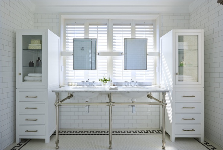 Glass Front Linen Cabinets Transitional Bathroom