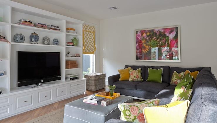 dark gray sectional - contemporary - living room - diane bergeron